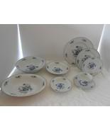 30 p SANGO Meissen Blue ROSE DINNERWARE LOT DINNER PLATE SOUP serving BO... - $174.23