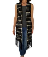CHICOS S 0 Stripe Fringe Farren Vest Black Gold Sweater Vest Fringed Boh... - $21.78