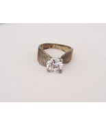 Vintage Sterling Silver CZ High Setting Ladies Ring Size 8.25 - $25.00