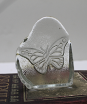 Clear Pressed Butterfly Art Glass Paperweight - $14.00