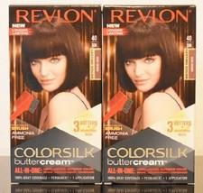 2 Boxes Revlon Colorsilk Buttercream Hair Dye, 40/30N Dark Brown - $19.62