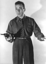 Humphrey Bogart in dark shirt & tie pointing gun 5x7 inch photo - $5.75