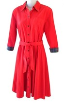 American Living Size M Womens Red Corduroy Shirt Dress - $808,40 MXN