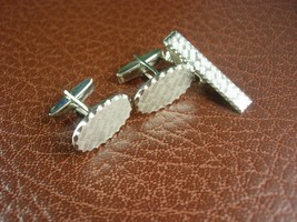 Petite 3 Piece Cufflink Set Vintage Brushed Silver Cuff Links with Match... - $75.00