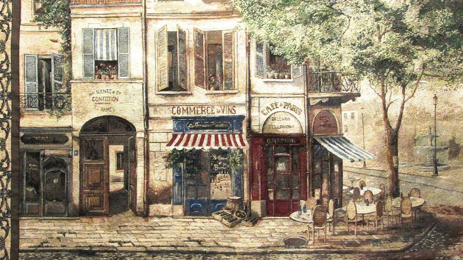 """Cafe De Paris F De Villeneuve Art 54"""" x 38"""" Wall Hanging Decor Mohawk Home"""