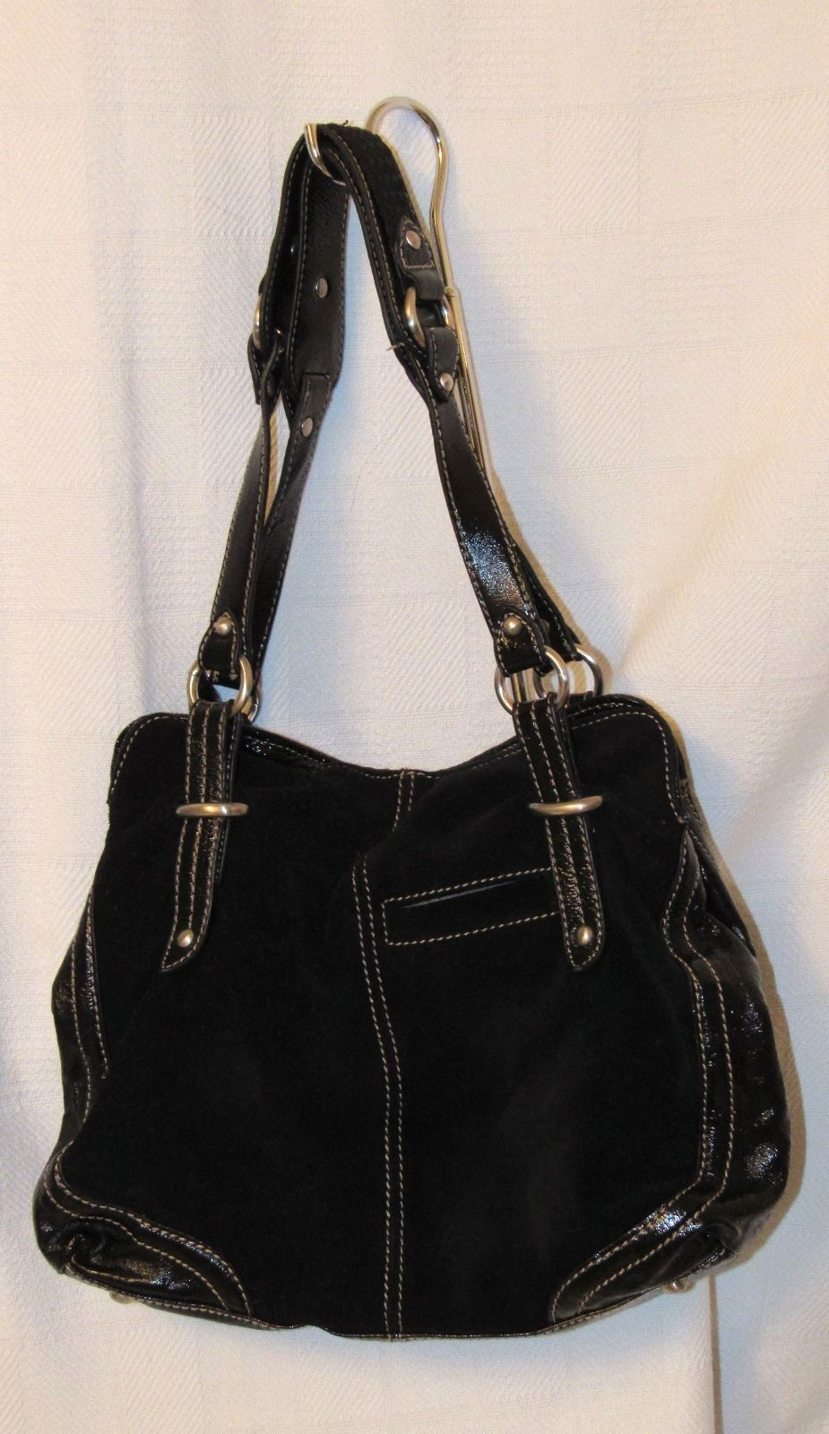 The Sak Black Women's Suede Patent Leather Slouchy Satchel