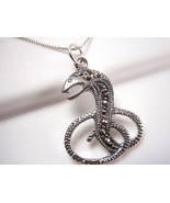 Serpent Marcasite Necklace 925 Sterling Silver Snake Corona Sun Jewelry - $16.73