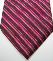 Brooks Brothers Burgundy Pink Stripe Tie  100%  Silk Rare - $29.99