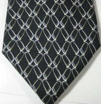 Brooks Brothers Makers Black With Cream Chains Clips  Tie Silk Rare - $29.99