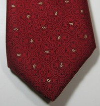BROOKS BROTHERS Makers Rich Red Black Gold Geometric  Vintage Tie Silk - $29.99