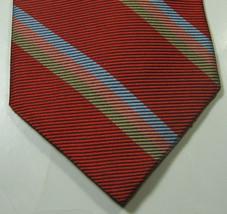 Brooks Brothers Makers Rich Orange Blue Peach  Stripe Tie Rare 100% Silk - $29.99