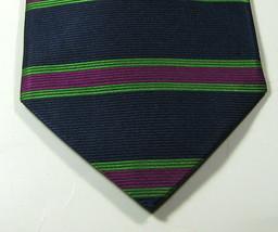 Brooks Brothers Makers Navy Horizontal Green Purple Stripes Rare 100% Silk Tie - $29.99