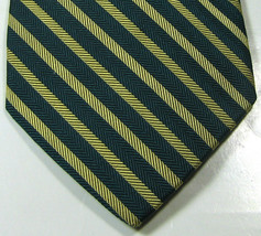 Brooks Brothers Makers Rich Green Gold Stripe  Tie Excellent Rare 100% Silk - $29.99