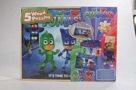 New PJMASKS 5 Wood Puzzles In Storage Box  - $19.24