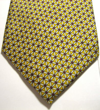 BROOKS BROTHERS Makers Red White Geometric on Yellow Tie Silk Woven in England - $29.99