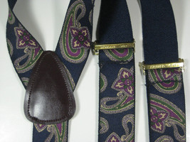 CAS GERMANY Vintage Navy Green Purple Paisley Leather  Suspenders RARE Q... - $98.99