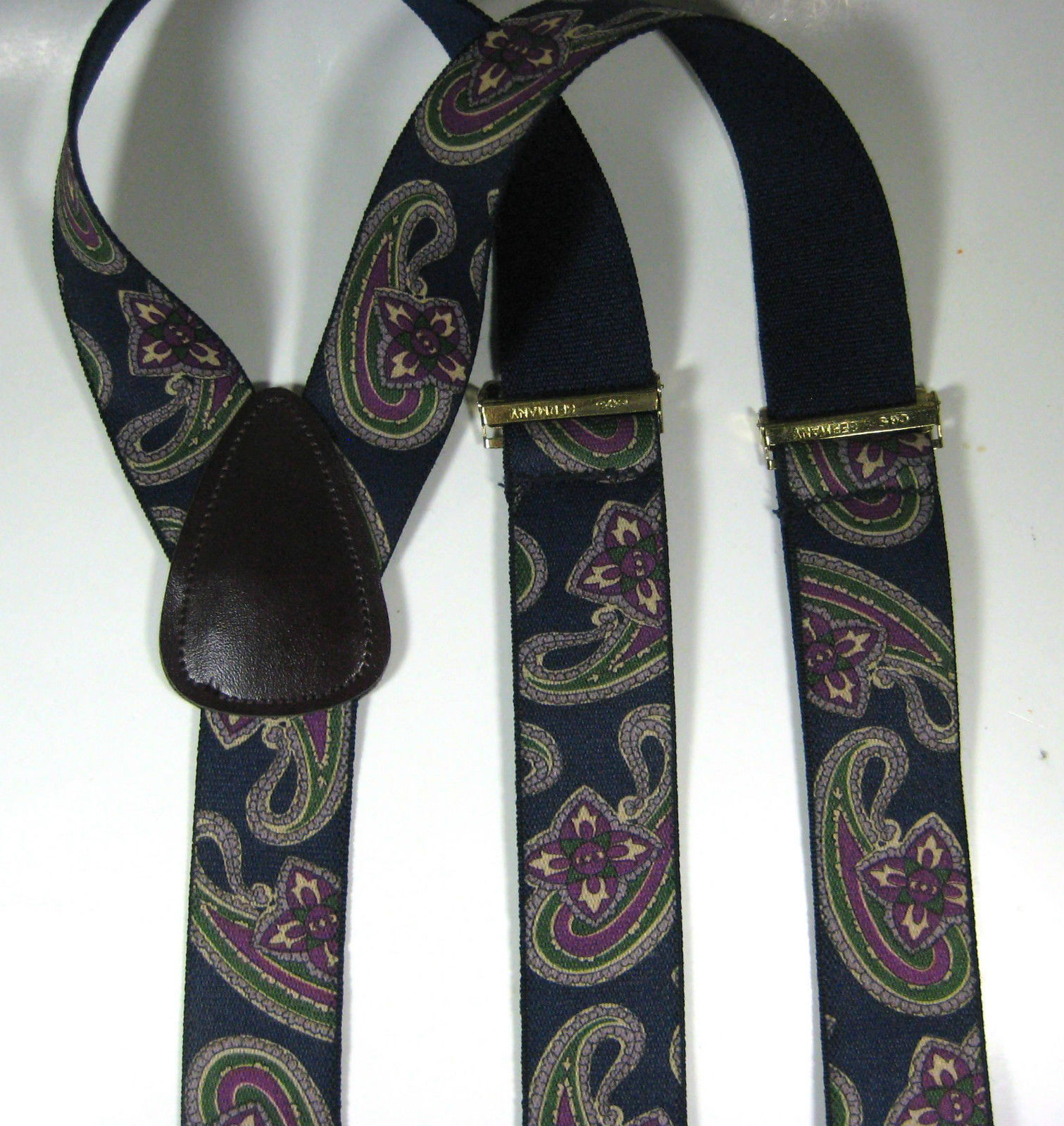 CAS GERMANY Vintage Navy Green Purple Paisley Leather  Suspenders RARE Quality