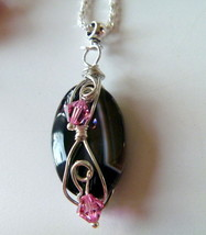 Wirewrapped Black Gemstone Pendant w Pink Crystal Beads - $14.99