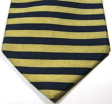 BROOKS BROTHERS Makers  Gold Navy Horizontal Stripe Tie Silk Tie 100% RARE - $29.99