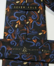 ROBERT TALBOTT Seven Fold 35/40 Rich Black Blue Orange 100% Silk RARE Ex... - $99.99