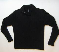 KENNETH COLE NEW YORK XXL  Black Warm Sweater Button Neck RARE Excellent - $64.99