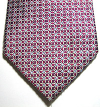 """BROOKS BROTHERS """"346"""" Burgundy Silver Geometric Tie  Woven in Italy 100%... - $29.99"""