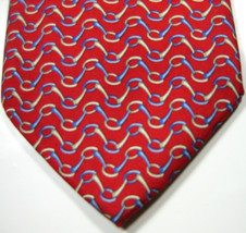 Brooks Brothers Makers Red With Blue Cream Chains Tie 100% Silk Hand Made Rare - $29.99