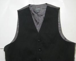 MERONA Premium Sm Rich Black Thin Pinstripe Excellent RARE Vest - $69.99