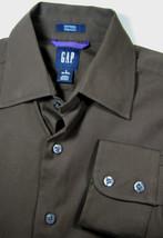 GAP S 14-14.5 Fitted Premium Brown Dress Shirt Excellent Sleek RARE - $69.29