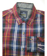 NAUTICA  Lg Boys 14-16 Plaid Blue Gold Green White Shirt RARE - $99.99