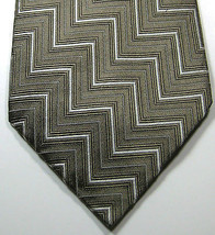 POLO RALPH LAUREN Greenish Brownish Silver Geometric Tie Made by Hand 100% Silk - $99.99