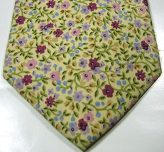 Polo Ralph Lauren Cream With Purple Lilac Flowers Tie  Excellent Rare 100% Silk - $99.99