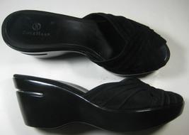 Cole Haan Nike Air 9.5 Aa Rich Black Suede Wedge Sandals Slides Rare - $64.99