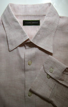JOSEPH ABBOUD 2XL 100% Linen White Orange Mini Plaid Button Front Shirt - $63.79 CAD