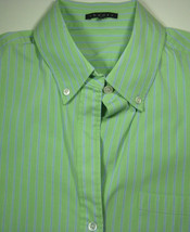 THEORY Med. Green with Thin Blue Stripe Button Down Shirt Excellent RARE - $99.99