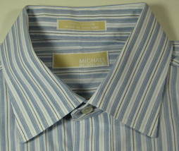 MICHAEL KORS Lg 16.5 x 32/33 Blue White Stripe  Shirt RARE  Excellent - €60,11 EUR