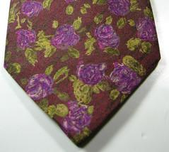 ERMENEGENLIDO ZEGNA Rich Burgundy Pink Green Flowers Paint  Excellent Ti... - $29.99