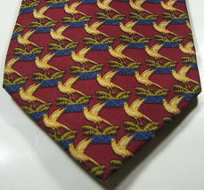 BURBERRY Burgundy with Gold Bird Blue Perch  100% Silk RARE Excellent - $99.99