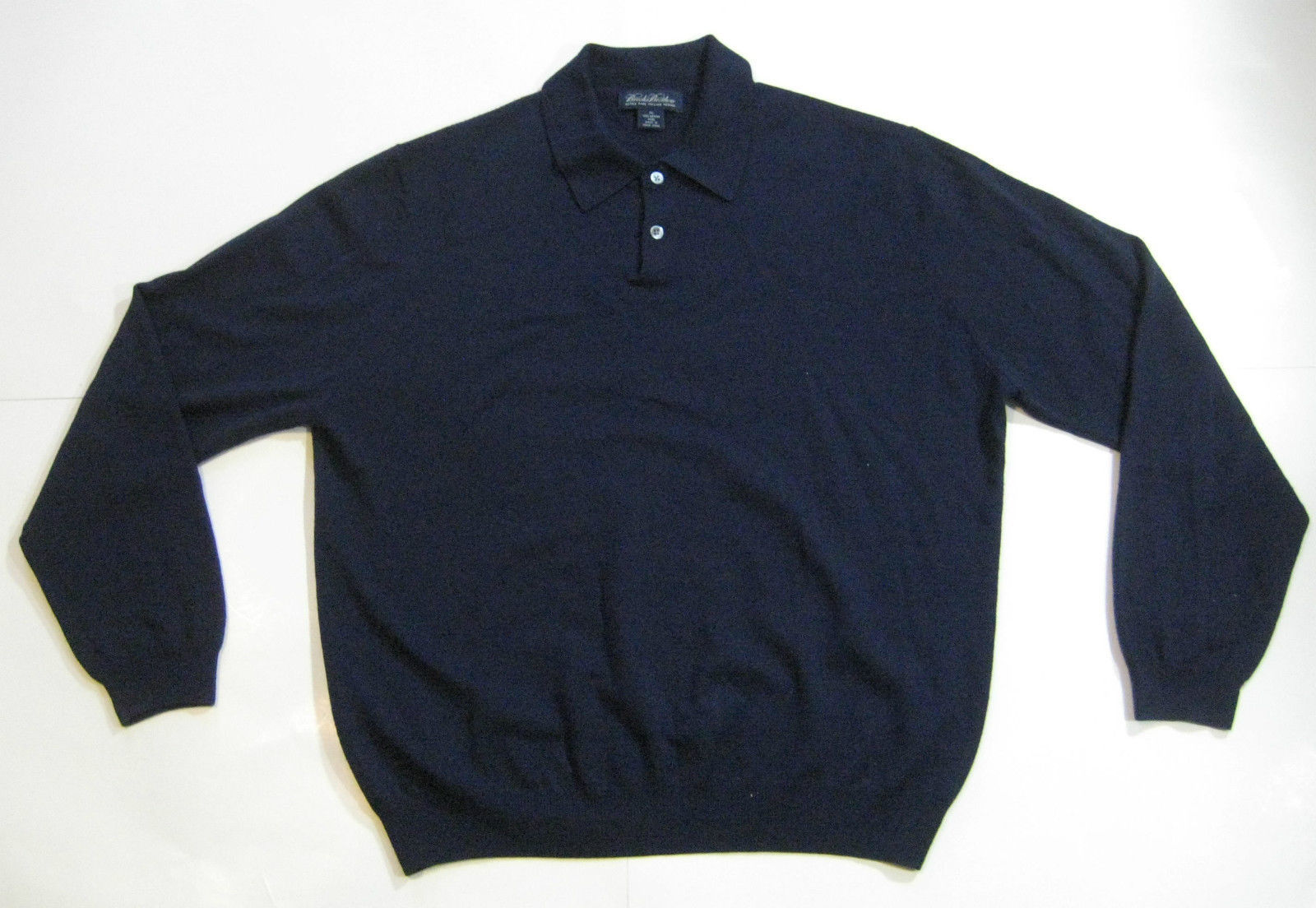 BROOKS BROTHERS XL Navy Blue Button Sweater 100% Wool RARE ...
