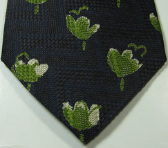 ERMENGENLIDO ZEGNA Rich Navy Black with Green Flowers Tie  100% Silk RARE - $29.99
