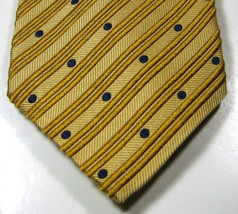 ERMENEGILDO ZEGNA Rich Gold with Navy Blue Polka Dot Tie RARE  100% Silk... - $29.99