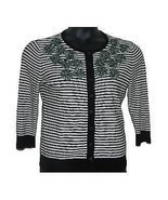 Womens Anthropologie Tabitha Stripe-Moss Black White Cardigan Sweater Me... - £44.00 GBP