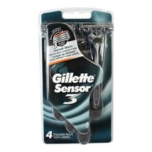 GILLETTE SENSOR 3 DISPOSABLE RAZORS 4-PACK - REGULAR 3 BLADE LUBRICATING... - $12.74