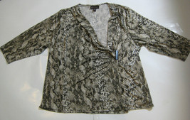 DANA BUCHMAN Woman 3X Rich Olive Green Cream Snakeskin Print Shirt Excel... - $99.99