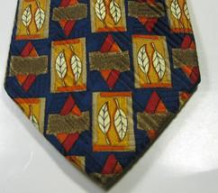 ERMENEGILDO ZEGNA Navy Gold Orange Red Leaves Leaf  RARE  100% Silk Tie - $29.99
