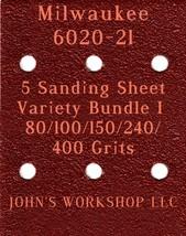 Milwaukee 6020-21 - 80/100/150/240/400 Grits - 5 Sandpaper Variety Bundle I - $7.53