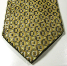 Ermenegildo Zegna Rich Shiny Beige Geometric  Tie Rare  100% Silk Soie Italy - $99.99