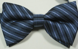 ULTRA RARE Rich Blue Navy Silver Stripe  Bow Tie Pre Tied NWOT - £35.11 GBP