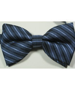 ULTRA RARE Rich Blue Navy Silver Stripe  Bow Tie Pre Tied NWOT - £37.39 GBP