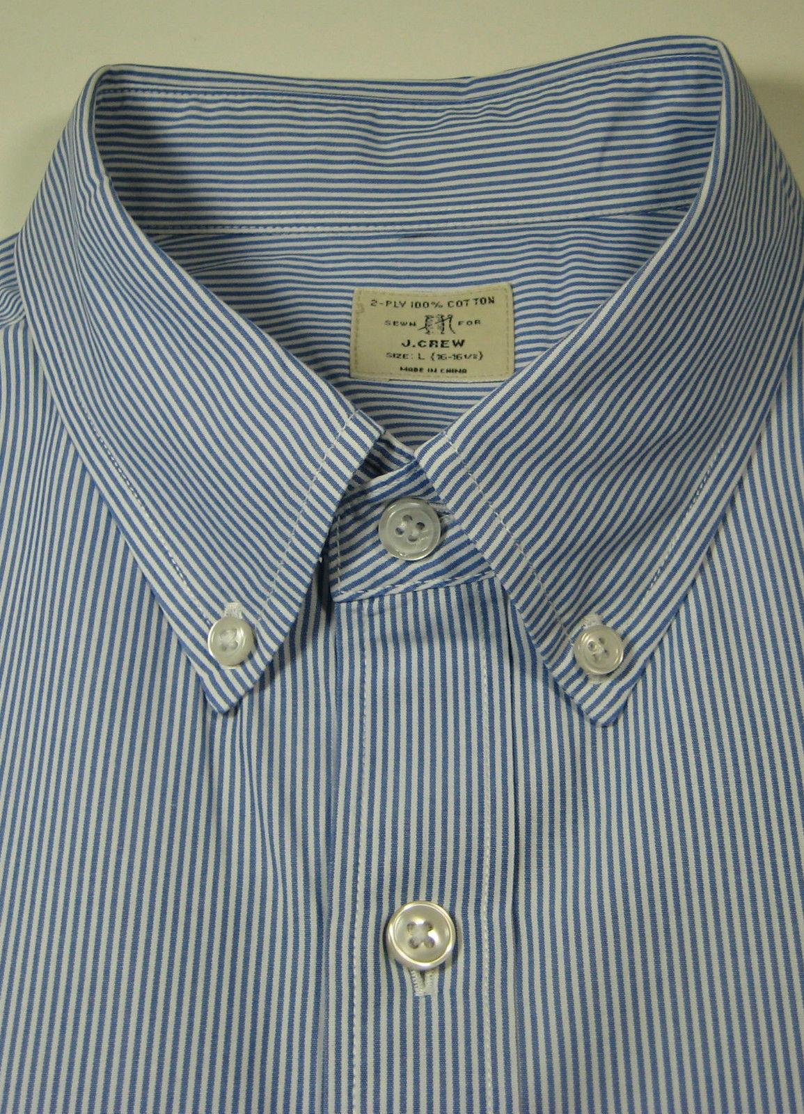 J crew lg 16 16 5 2 ply cotton blue stripe oxford dress for 2 ply cotton dress shirt
